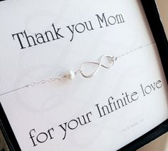 Mother of the groom or mother of bride card with silver infinity necklace, pearl necklace, mother in law gift, boxed gift set for moms.