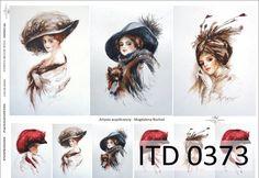 Papier decoupage ITD 373 - kapelusze, kobiece pasje - malarstwo współczesne Magdalena Rochoń
