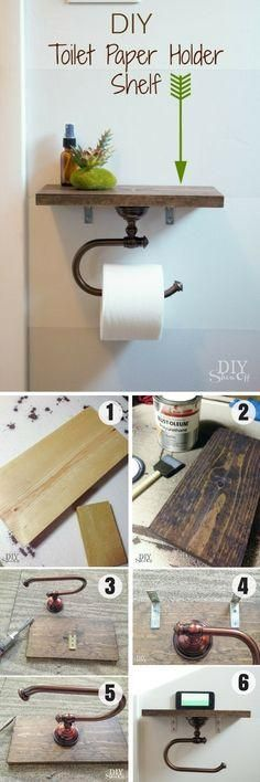 Easy to build DIY Toilet Paper Holder Shelf for rustic bathroom decor Industry Standard Design