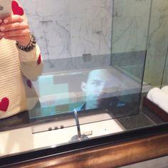 TV in the mirror at the Shangri-La Vancouver! Via 204 Park