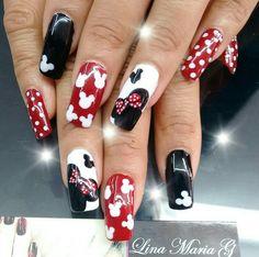 Minnie Mouse Nail Art - Best deas My Disney Acrylic Nails, Disney Nails, Best Acrylic Nails, Acrylic Nail Designs, Nail Art Designs, Disney Christmas Nails, Disney Inspired Nails, Gorgeous Nails, Pretty Nails