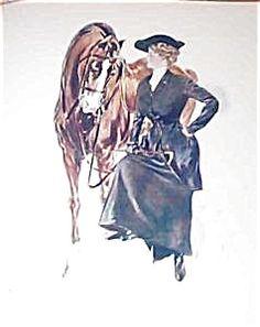 Victorian Equestrian prints: Henry Hutt Lady in Riding Attire (Image1) #illustration