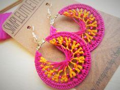 FREE SHIPPING Crochet Hoop Earrings  Dark by SimpleLittleThingss