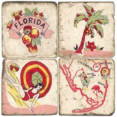 vintage florida decore | Vintage Florida Coasters S/4 -