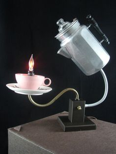 Upcycled percolated coffee pot lamp.
