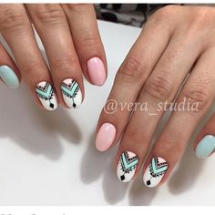 Discover new and inspirational nail art for your short nail designs. Gelish Nails, My Nails, Short Nail Designs, Nail Art Designs, Aztec Nail Designs, Cute Nails, Pretty Nails, Pastel Nails, Acrylic Nails