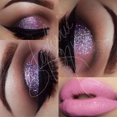 Purple Glitter and Brown Eye Makeup - Winged Eyeliner - Light Pink Lips