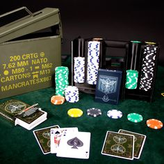Definitely getting this for Father's Day. A full 300 chip poker set and two custom decks, all comfortably nestled in an authentic .30 M19A1 ammo case.