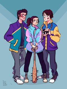 """Stranger Teens"" - Steve Harrington, Nancy Wheeler, and Jonathan Byers from Stranger Things wearing windbreakers"