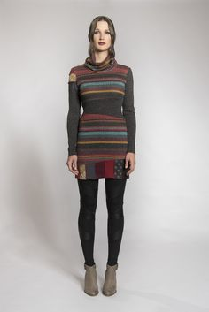 Tunic with big collar - Colorful tunic - Striped tunic - Tunic with patchwork - Recycled materials insert - Original tunic - Made in Quebec.Velasquez Tunic ''Oeuvres d'art'' Fall-Winter 2017 collection. Beautiful tunic with big collar, perfect for the cooler seasons. It is original with its cut of solid knits, patterned knits and recycled material inserts. The wide asymmetric belt at the waist cut out the silhouette. Wear it with a legging, a pants or a knitted tights. Christmas dress.