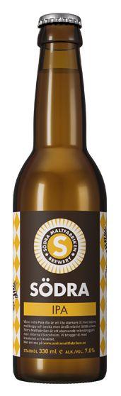 SÖDRA IPA / Södra IPA är en välhumlad lite starkare öl. Humle: Amarillo, Cascade & Columbus Malt: PaleAle, Karamellmalt, Wiener & Melanoidmalt