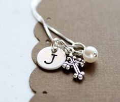 Girls Necklace Personalized Initial Cross by PolkaDotBoutique, $32.00