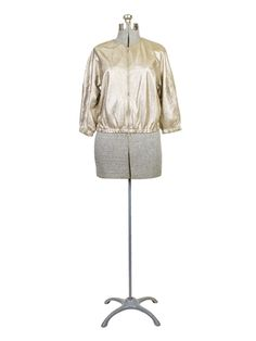 Liven - Perforated Leather Bomber Jacket Gold