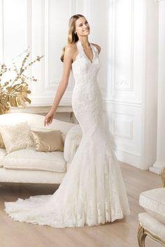 Halterneck #wedding dress ideas: http://www.weddingandweddingflowers.co.uk/article/1271/lookbook-halterneck-wedding-dresses