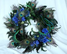 Peacock Home Decor Wreath Natural Feathers by amorevivo