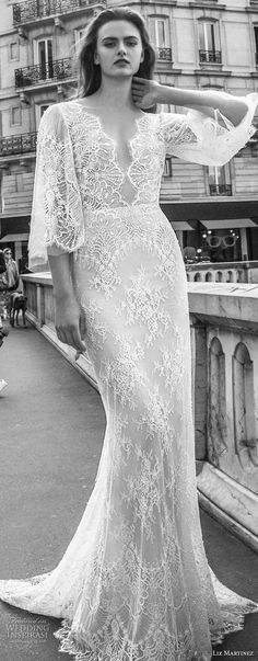 liz martinez 2018 bridal half bell sleeves deep v neck full embellishment elegant sheath wedding dress open back sweep train (4) lv -- Liz Martinez 2018 Wedding Dresses