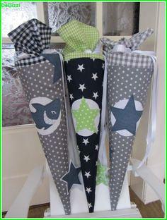 Schultüte ★ aus Stoff ★ grau weiß mit blauem Stern von De Dizzi auf DaWanda.com