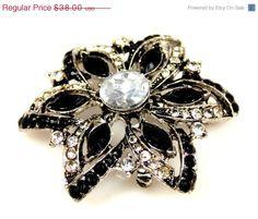On Sale Vintage Black Clear Glass Foil Back Rhinestone Pendant Brooch Necklace