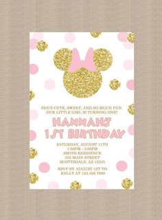 Pink and Gold Minnie Mouse Birthday Party Invitation 2, Gold Minnie Mouse, Gold Glitter, Polka Dot, 1st Birthday, Girl, Printable Invitation