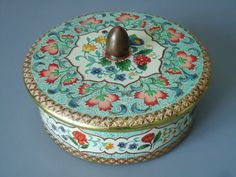 Vintage Holland Made Powder Tin - Holland Canister - Turquoise Floral Chintz Tin - Vintage Powder Tin. Etsy.