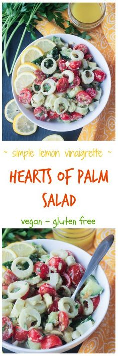 Hearts of Palm Salad with a Simple Lemon Vinaigrette - just a few simple ingredients come together in mere minutes to create this incredibly flavorful dish. Dairy Free Recipes, Vegan Recipes Easy, Vegan Gluten Free, Whole Food Recipes, Vegetarian Recipes, Vegan Meals, Vegan Foods, Hearts Of Palm Salad, Lemon Vinaigrette