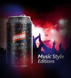 Brahma - Music Style Editions I Beer Packaging, Packaging Design, Beer Poster, Flyer Template, Alcohol, Music, Style, Illustrations, Rubbing Alcohol