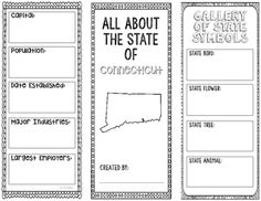 Connecticut State Research Project Template Brochure with Interactive Notebook Pocket. State symbols, languages, capital, population, continent, industries, state motto, government.