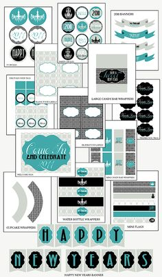 New Year's Eve printables! LOVE the color scheme! #turquoise #Printable #free #Holiday