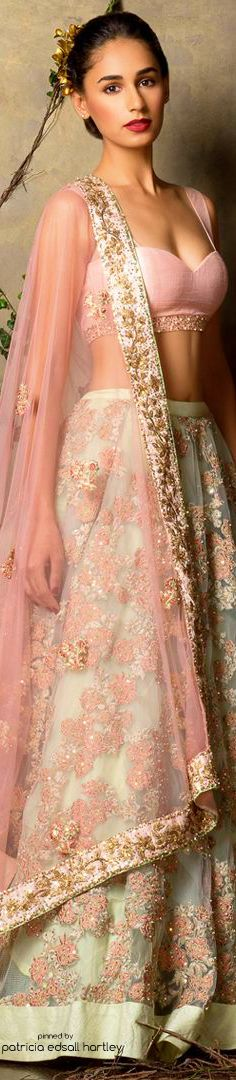 SHYAMAL & BHUMIKA designer pastel lehenga with blouse and dupatta. Indian fashion.