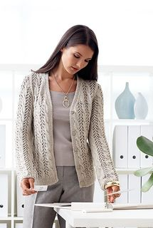 Beautiful lace and cable cardigan will become the go-to staple of your wardrobe. Shown in Patons Silk Bamboo. (Patons Yarns)