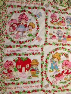 Strawberry Shortcake Vintage Curtain Set Fabric Material 1980 JC Penney AGC | eBay