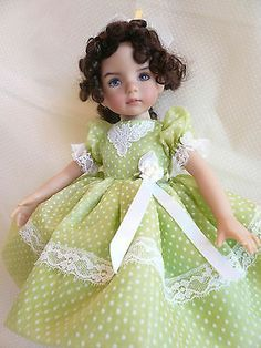 "Easter Green Organdy Dots Dress for Effner 13"" Little Darlings Doll by Apple 