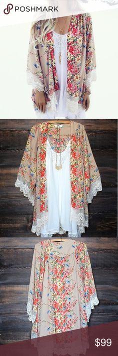 Beautiful Detailed Kimono  LIKE TO BE NOTIFIED! Beautiful & comfortable polyester + lace kimono. Boutique Tops