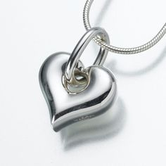 Puff Heart Pendant with Loop Cremation Jewelry in Sterling Silver