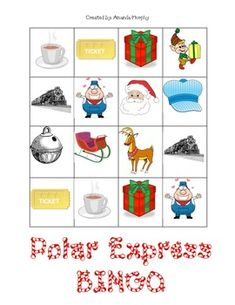 This is a Polar Express Bingo game.  It is played just like your traditional bingo game.  The bingo cards and 10 different bingo boards are included in this download.  You may choose to cover one row or the entire board.  Have fun playing!