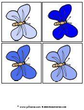 Juf Sanne Lesidee: Vlinders van licht naar donker 4 plaatjes