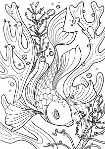 Le plus beau coloriage de poisson au monde ! Forcément, vu qu'il est sur mon site de coloriages ;-) A vos crayons ! Fish Coloring Page, Animal Coloring Pages, Coloring Book Pages, Coloring Sheets, Sketch Inspiration, Fish Art, Fabric Painting, Colorful Pictures, Rock Art