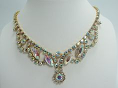 Vintage 1950s fancy crystal necklace by Olablingola on Etsy, $55.00