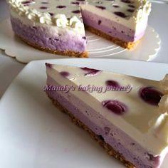 Mandy's baking journey: Ombré Blueberry Cheesecake (non bake)