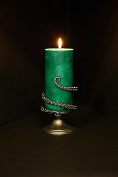Tentilla Coil Candle Holder by Perry Gargano Antique Black Short Taper Candles from Anthropologie. Saved to Epic Wishlist. Kraken, Home Candles, Pillar Candles, Green Candles, Beeswax Candles, Style Deco, Gothic House, Home And Deco, Cthulhu