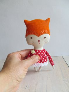 Fox toy Stuffed animal doll Pocket friend by KukloFerma on Etsy