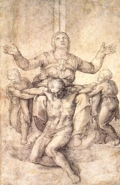 """Study for the """"Colonna Pieta"""", 1538 Michelangelo - by style - High Renaissance"""