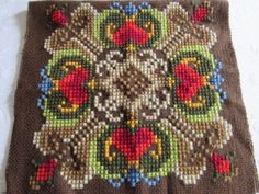 NEW-Hand-Stitched-Embroidered-Wool-NORWAY-Pillow-Cover-16x17-034-Scandinavian-Style