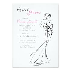 #Bridal Shower Fashionillustration Card - #weddinginvitations #wedding #invitations #party #card #cards #invitation #elegant