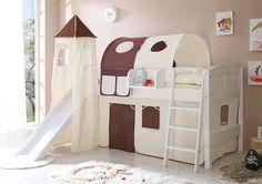 Etagenbett Mit Rutsche Für Zwei : Hochbett vilvi mit rutsche in kiefer massiv weiß