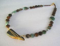 Green Opal Chalcedony & Rock Necklace by MissBusyBeeJewelry, $38.00