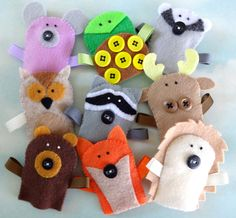 Felt Forest Critter Finger Puppets Sewing Pattern PDF