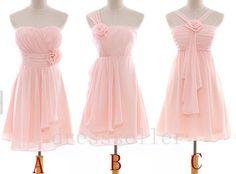 $78.00 on ETSY! Short Light Pink Chiffon Bridesmaid Dress Simple Design Bridesmaid Dresses Wedding Party Dress Wedding Dress Homecoming Dress Custom