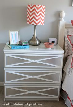 CUTE dresser redo! Fantastic little lampshade, too. Love bright orange as an unexpected pop of color next to neutrals.