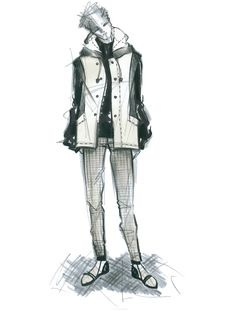 man's fashion illustration by Mariana Cino  #boy #outwear #check #sportswear #look #man #fashion #fashionillustration #marianacino